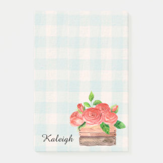 Basket of Roses on Blue Plaid Post it Notes