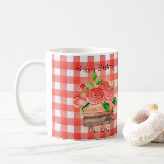 Basket of Roses on Red Plaid Happy Birthday Mug