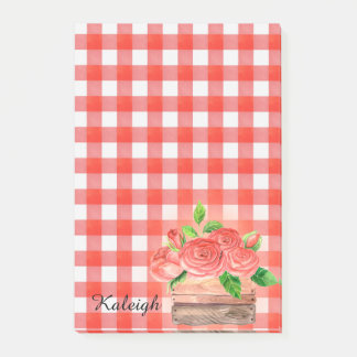Basket of Roses on Red Plaid Post it Notes