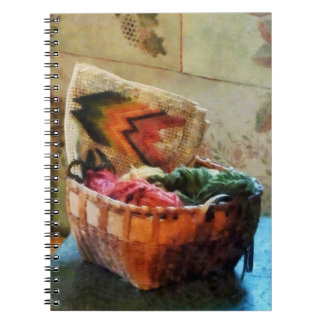 Basket of Yarn and Tapestry Notebooks