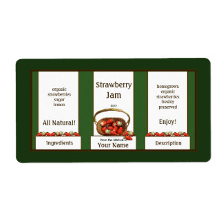 Basket Strawberry Jam Canning Jar Label