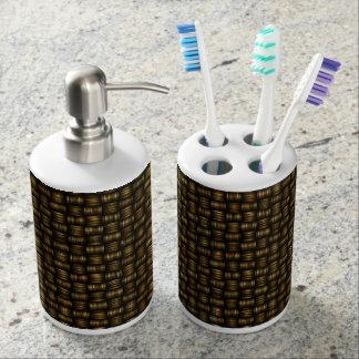 Basket Weave Woven Design Bathroom Soap Toothbrush Bathroom Set