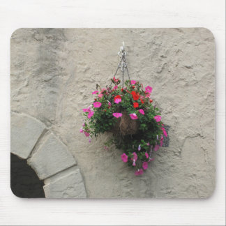 Basket with Flowers Hanging on Wall Arch Window Mouse Pad