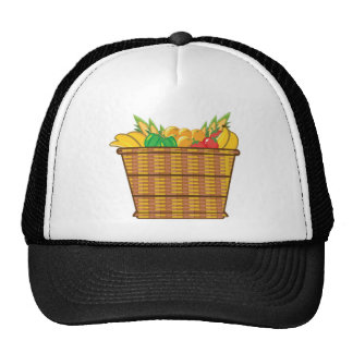 Basket with fruits and vegetables vector cap