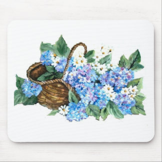 BASKET WITH HYDRANGEAS MOUSE PAD