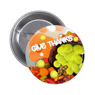 Basket with tennis ball in Thanksgiving 6 Cm Round Badge