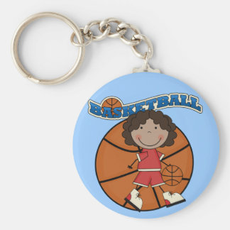 BASKETBALL African American Girl T-shirts and Gift Basic Round Button Key Ring