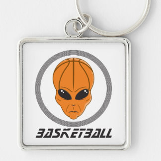 basketball alien head with text Silver-Colored square key ring