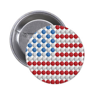 Basketball American Flag 6 Cm Round Badge