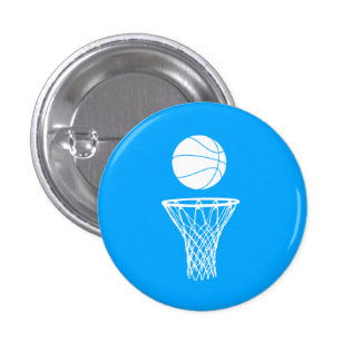 Basketball and Hoop Button Blue