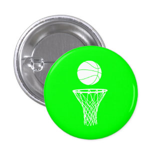 Basketball and Hoop Button Green