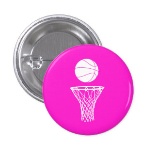 Basketball and Hoop Button Pink