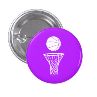 Basketball and Hoop Button Purple