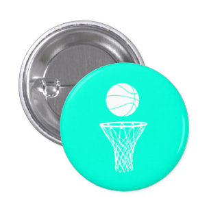 Basketball and Hoop Button Turquoise