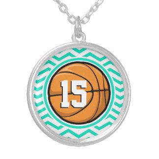 Basketball Aqua Green Chevron Pendants