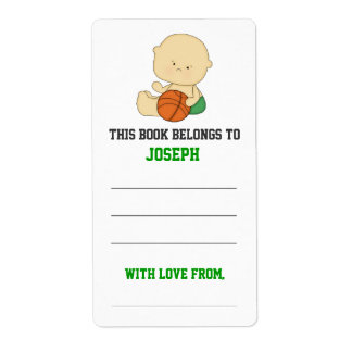 Basketball Baby Shower Bookplate Shipping Label