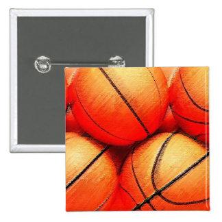Basketball Ball 15 Cm Square Badge