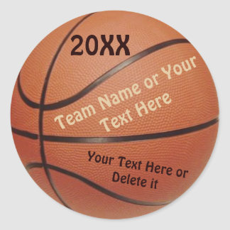 Basketball Ball Stickers, Type YEAR, TEAM, Message Classic Round Sticker