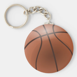 Basketball Basic Round Button Key Ring