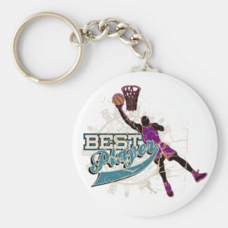 Basketball Best Player Teal and Purple Keychain