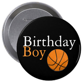 Basketball Birthday Boy Black and Orange Button