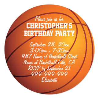 Basketball Birthday Party Card