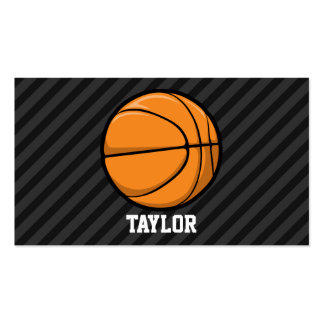 Basketball; Black & Dark Gray Stripes Double-Sided Standard Business Cards (Pack Of 100)