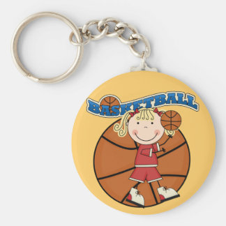 BASKETBALL Blond Girl T-shirts and Gifts Basic Round Button Key Ring