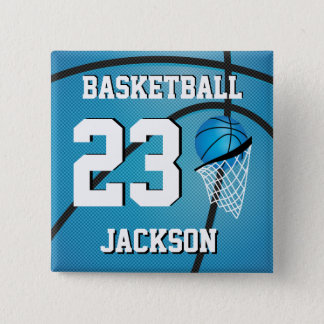 Basketball Blue and White | Personalize 15 Cm Square Badge