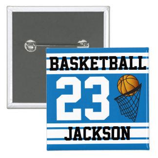 Basketball Blue & White Stripes | DIY Text 15 Cm Square Badge