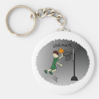 BASKETBALL - BOY - LOVE TO BE ME BASIC ROUND BUTTON KEY RING