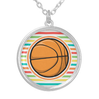 Basketball Bright Rainbow Stripes Necklaces