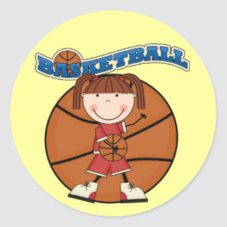 BASKETBALL Brunette Girl T-shirts and Gifts Round Sticker