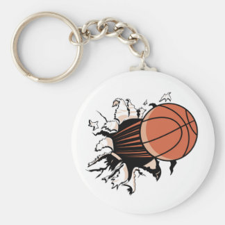 Basketball Burst T-shirts and Gifts Basic Round Button Key Ring