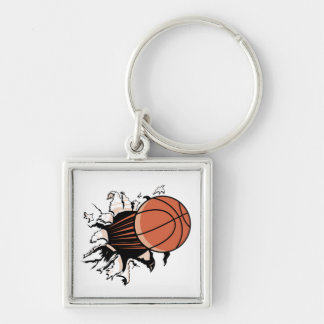 Basketball Burst T-shirts and Gifts Silver-Colored Square Key Ring