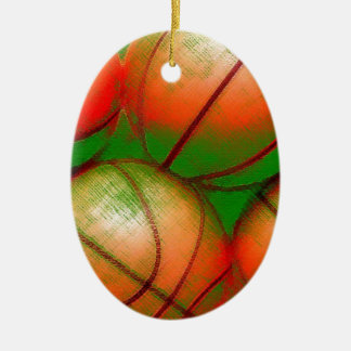 Basketball Ceramic Oval Decoration