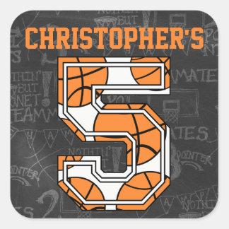 Basketball Chalkboard 5th Birthday Square Sticker