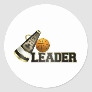 Basketball Cheerleader Round Sticker