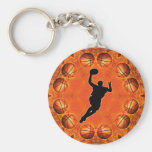 BASKETBALL CIRCLE AND PLAYER BASIC ROUND BUTTON KEY RING