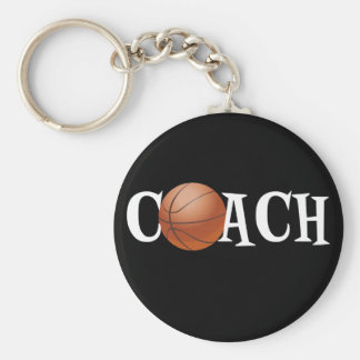 Basketball Coach Basic Round Button Key Ring