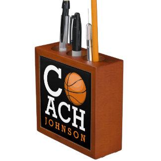 Basketball Coach Custom Name Desk Organiser