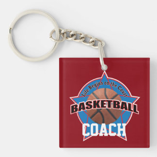 Basketball Coach Life Begins Double-Sided Square Acrylic Key Ring
