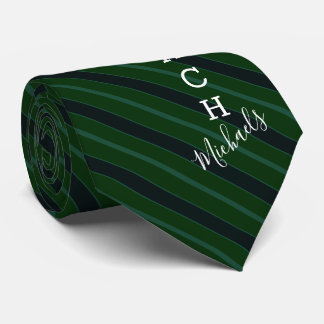 Basketball Coach Signature Name Green Striped Tie