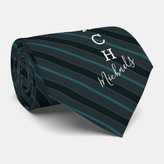 Basketball Coach Signature Name Teal Striped Tie