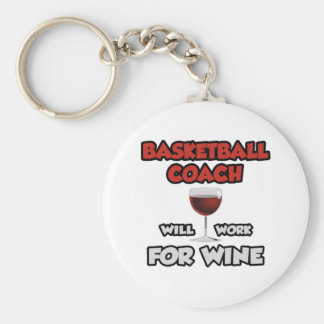 Basketball Coach ... Will Work For Wine Keychain