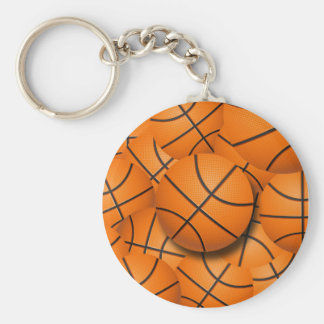 BASKETBALL COLLAGE BASIC ROUND BUTTON KEY RING