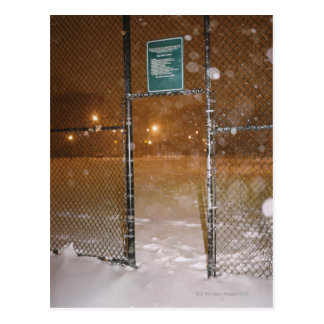 Basketball Court in Snow Postcard