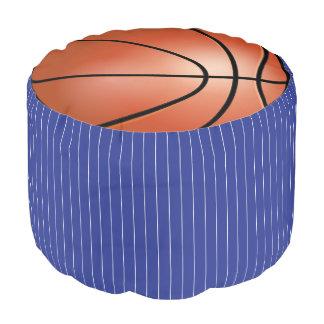 Basketball Dark Blue & White Sport Pattern | DIY Pouf