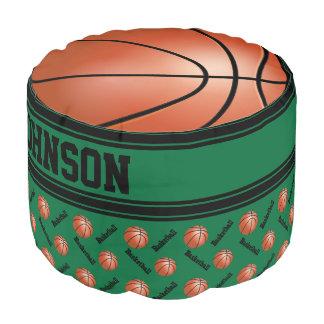 Basketball Dark Green Sport Pattern Pouf
