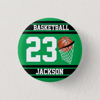 Basketball Design in Green and Black 3 Cm Round Badge